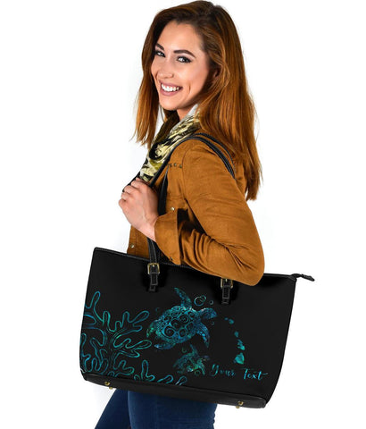 Personalized- Hawaii Turtle Ohana Paua Shell Large Leather Tote - AH - J4