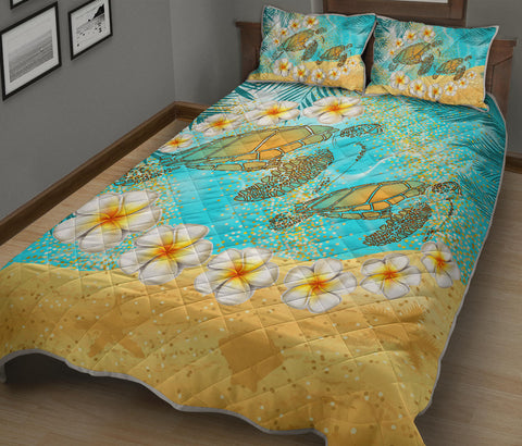 Hawaii Turtle Plumeria Summer Quilt Bed Set - Sea Style - AH - JA