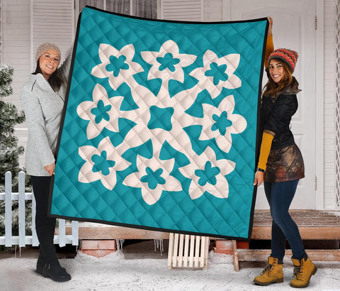 Hawaiian Premium Quilt Royal Pattern - Turquoise - A1 Style
