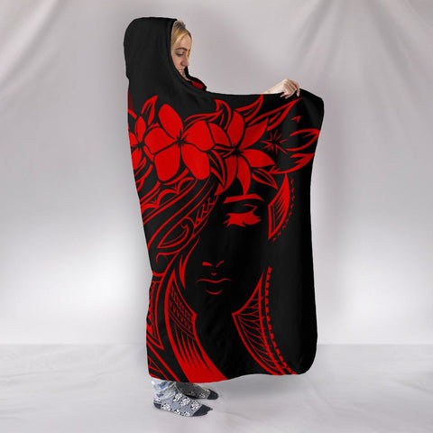 Hawaii Map Kanaka Polynesian Hula Girl Hooded Blanket - Red - AH - J5 - Alohawaii