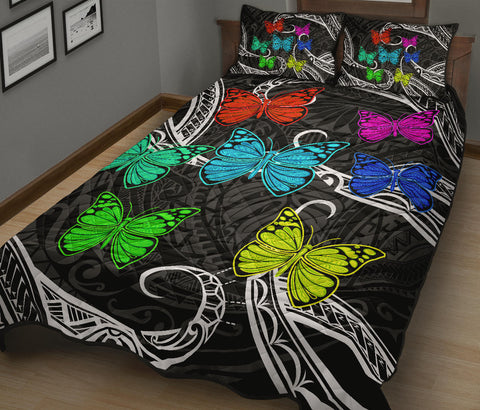Hawaii Polynesian Butterflies Quilt Bed Set - AH - J5 - Alohawaii