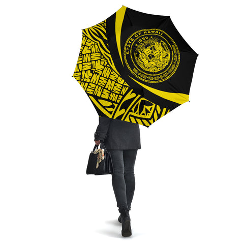 Seal Of Hawaii Umbrella Yellow - Circle Style - AH J4 - Alohawaii