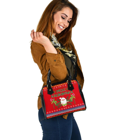 Hawaii Mele Kalikimaka Pattern Christmas Hawaiian Shoulder Handbag - Pon Style - AH - J3