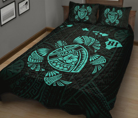 Image of Hawaii Turtle Hibicus Map Quilt Bed Set - Blue | AH |