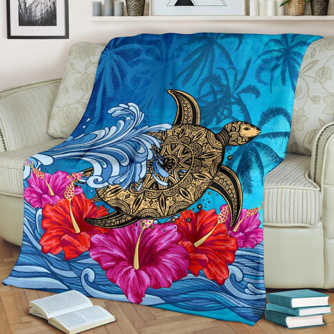 Hawaii Sea Turtle Hibiscus Coconut Tree Premium Blanket - AH - J4 - Alohawaii