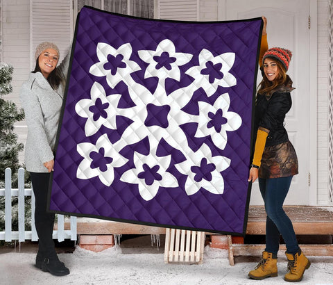 Hawaiian Premium Quilt Royal Pattern - Purple - A1 Style