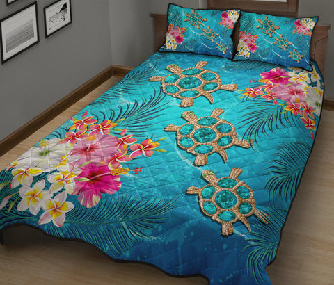 Hawaii Turtle Ocean Tropical Flowers Quilt Bed Set