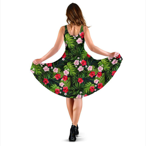 Hawaii Tropical Flower Mix Midi Dress   - AH - J71