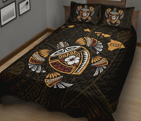 Image of Hawaiian Quilt Bed Set - Kakau Polynesian Turtle Map Quilt Bed Set - AH