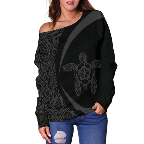 Hawaii Turtle Polynesian Women's Off Shoulder Sweater - Circle Style - AH - Black J9