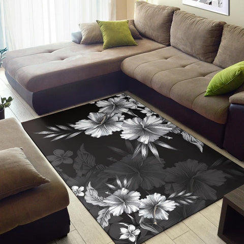 Image of Hibiscus And Plumeria B&W Area Rug AH J1 - Alohawaii