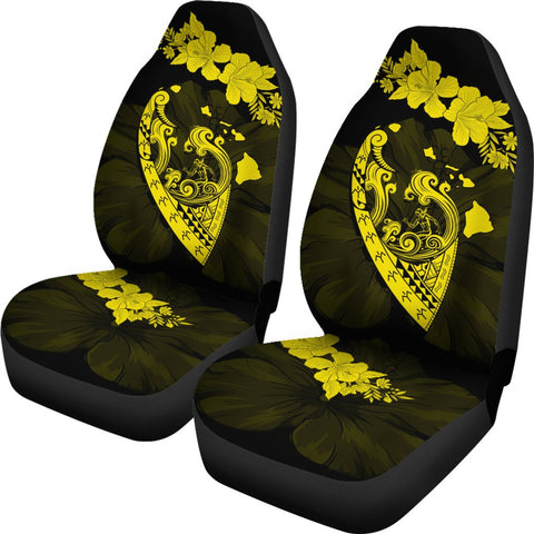 Hawaii Hibiscus Banzai Surfing Car Seat Cover V2 Yellow - AH - J5 - Alohawaii
