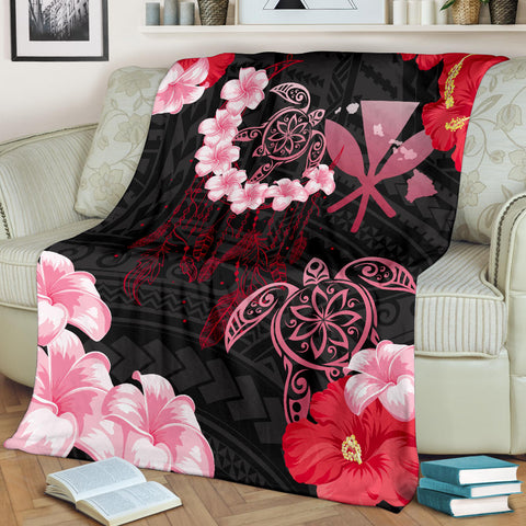 Hawaii Dream Catcher Turtle Hibiscus Plumeria Polynesian - Premium Blanket AH J2 - Alohawaii