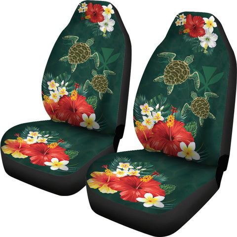 Hawaii Sea Turtle Hibiscus Plumeria Car Set Cover - AH - J4 - Alohawaii