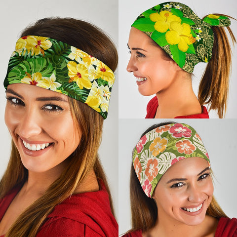 Hawaiian Hibiscus Green Set Bandana 3-Pack  - AH J0 - Alohawaii