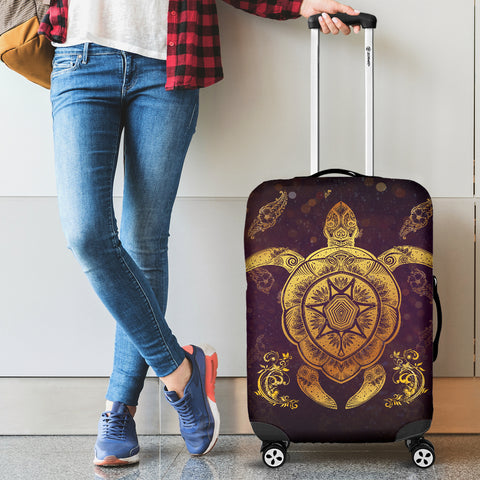 Turtle And Hibiscus Luggage Cover 01 - AH - Alohawaii