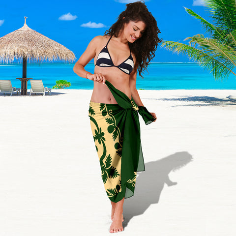 Hawaiian Sarong Royal Pattern - Emerald Green