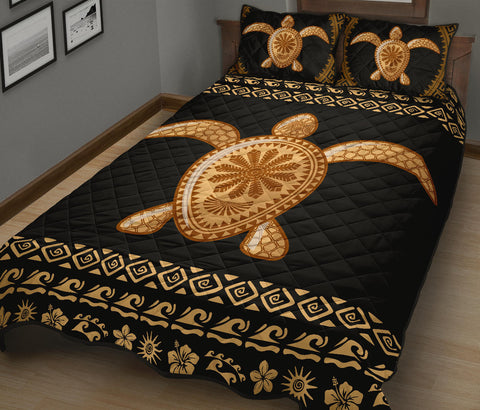 Image of Alohawaii Quilt Bed Set - Golden Turtle Quilt Bed Set - AH - J4 - Alohawaii