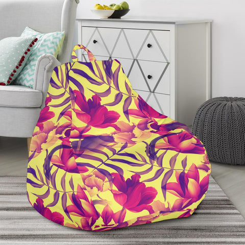 Image of Hawaii Seamless Tropical Flower Plant Pattern Background Bean Bag Chair - AH - J71 - Alohawaii