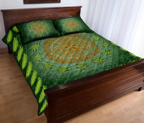 Hawaii Tropical Pattern Turtle Polynesian Quilt Bed Set - Amee Style - AH
