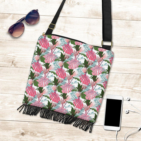 Hawaii Pink Monstera And Green Tropical Leaves White Crossbody Boho Handbag - AH - J71 - Alohawaii