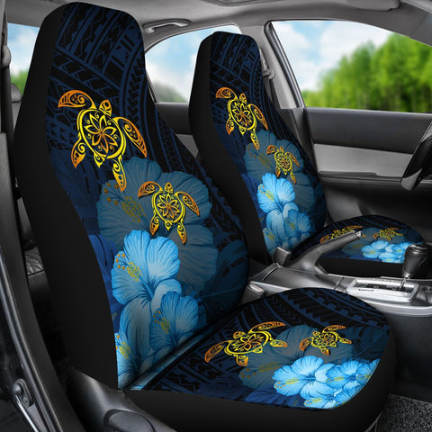 Hawaii Car Seat Cover - Turtle Hibiscus Pattern Hawaiian Car Seat Cover - Blue - AH - J2 - Alohawaii