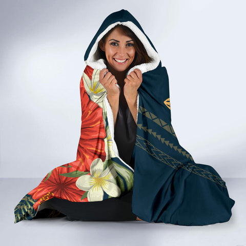 Image of Hawaii Polynesian Turtle Hibiscus Hooded Blanket - Nolan Style - AH - J4