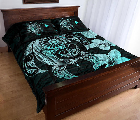 Image of Hibiscus Plumeria Mix Polynesian Turquoise Turtle Quilt Bed Set - AH - J1 - Alohawaii