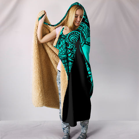 Image of Kanaka Map Polynesian Hooded Blanket - Turquoise - Armor Style - AH J9 - Alohawaii