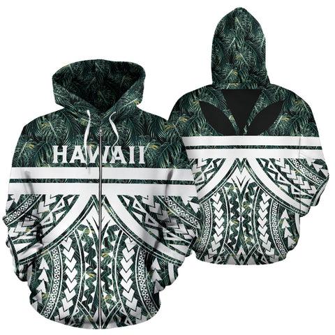 Image of Hawaii Summer Palm Tree Polynesian Kanaka Zip Hoodie