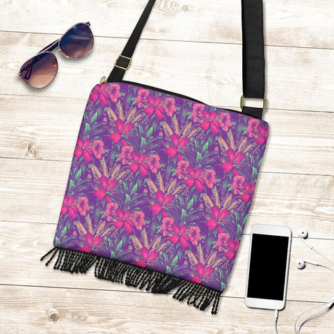 Hawaii Tropical Hibiscus Purple Crossbody Boho Handbag - AH - J71 - Alohawaii