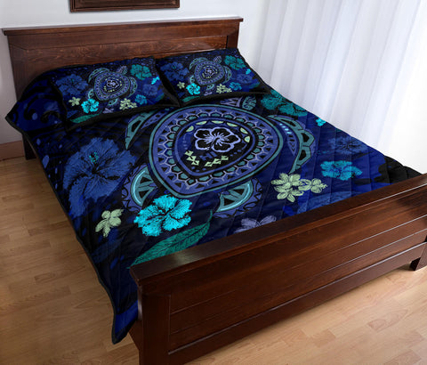Hawaiian Blue Ocean Honu And Flowers Quilt Bed Set - AH J0 - Alohawaii
