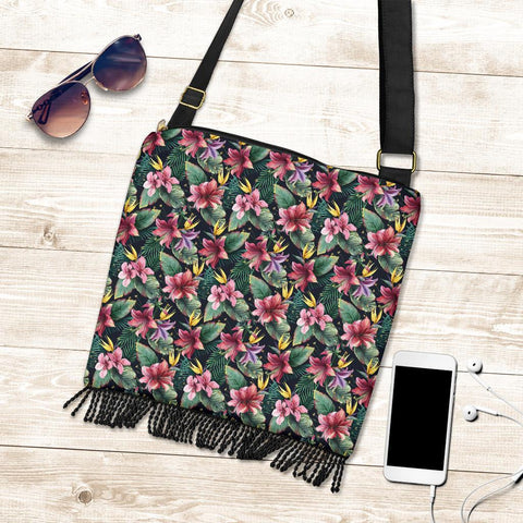 Hawaii Tropical Flowers, Palm And Leaves Crossbody Boho Handbag - AH - J71 - Alohawaii
