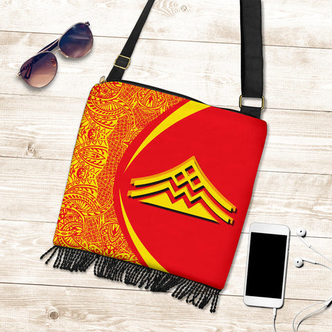 Hawaii Crossbody Boho Handbag Mauna Kea Polynesian - Circle Style Red And Yellow - AH - J71 - Alohawaii