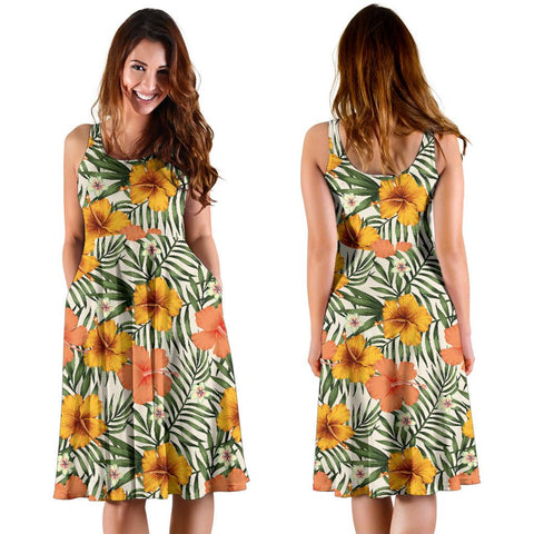 Hawaii Tropical Flowers Hibiscus Pink Yellow Midi Dress   - AH - J71
