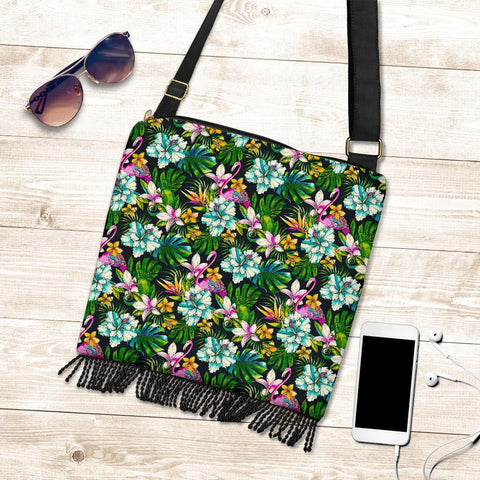 Hawaii Animals And Tropical Flowers Crossbody Boho Handbag - AH - J71 - Alohawaii