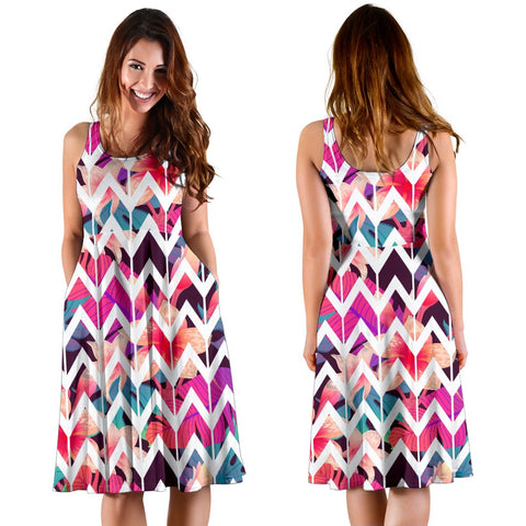 Hawaii Palm Foliage On Striped Zigzag  Midi Dress   - AH - J71
