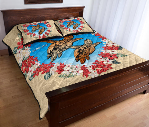 Image of (Personalised) Hawaii Turtle Hibiscus Polynesian Valentines Quilt Bed Set - Life Style - AH - J4