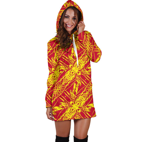 Polynesian Tribal Hoodie Dress 02 - AH - J7