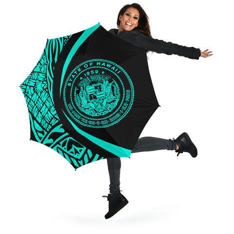 Image of Seal Of Hawaii Umbrella Turquoise - Circle Style - AH J4
