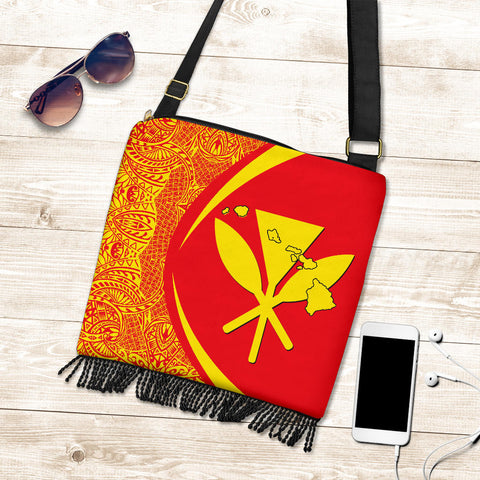 Image of Hawaii Crossbody Boho Handbag Kanaka Polynesian - Circle Style Red And Yellow - AH - J71 - Alohawaii