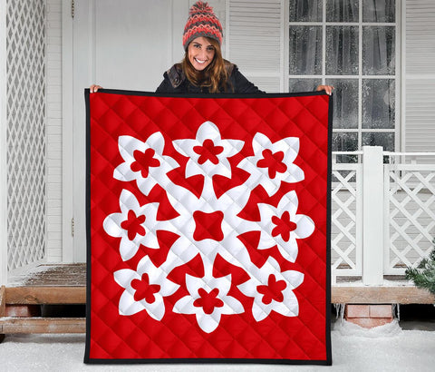 Hawaiian Premium Quilt Royal Pattern - Red