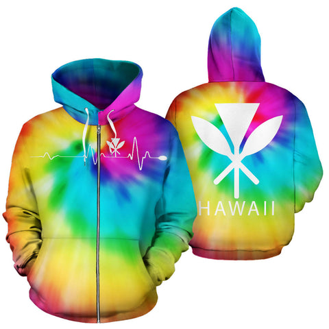 Image of Hawaiian Kanaka Hoodie (Zipper) Tie Dye