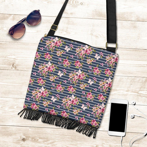 Hawaii Tropical Butterfly Pink Crossbody Boho Handbag - AH - J71 - Alohawaii