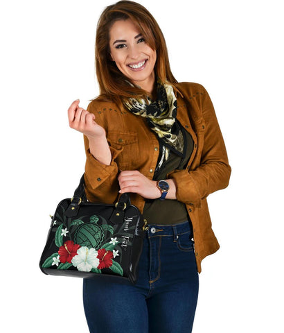 Personalized - Hawaii Turtle Hibiscus Plumeria Shoulder Handbag - AH - J4 - Alohawaii