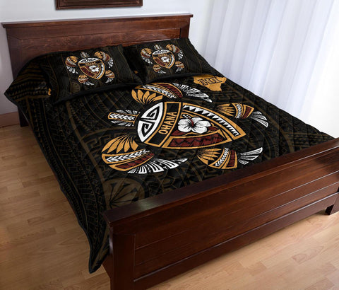 Image of Hawaii Quilt Bed Set - Turtle Kakau Polynesian Map