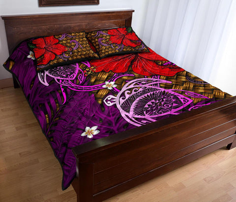 Hawaii Lauhala Hibiscus Polynesian Tropical Pink Quilt Bed Set - Wake Style - AH - J4