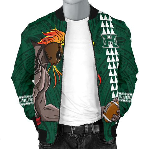 Hawaii Warrior Helmet Football Green Kakau Men's Bomber Jacket - AH - J1 - Alohawaii