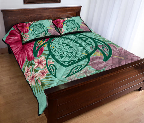 Hawaii Turtle Hibiscus Plumeria Quilt Bed Set - Hug Style - AH - J4