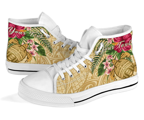 Image of Alohawaii High Top Shoe - Turtle High Top Shoe Strong Pattern Hibiscus Plumeria AH J1